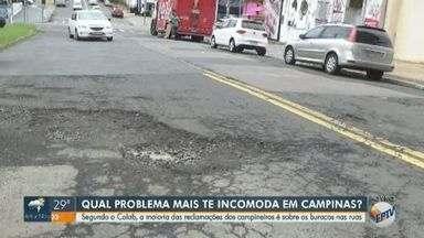 Maioria das reclamações dos campineiros é sobre os buracos nas ruas - Segundo o Colab, serviço online da prefeitura para a população, problema lidera topo do ranking de reclamações de Campinas.