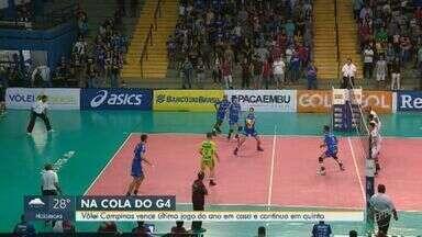 Vôlei Campinas vence último jogo do ano em casa e continua em quinto lugar da competição - Time venceu a equipe de Ribeirão Preto por 3 a 0.