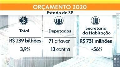 Assembleia Legislativa aprova orçamento do estado para 2020 - A previsão é que o governo de São Paulo tenha para gastar -- em 2020 -- 239 bilhões de reais. Um aumento de 3,9%.
