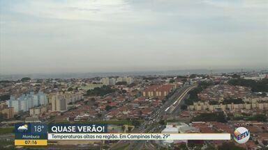 Confira a previsão do tempo no fim de semana para as cidades da região - Previsão de temperaturas altas na região; em Campinas, máxima de 29°C.