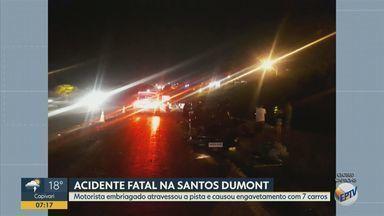 Mulher morre após acidente causado por motorista embriagado na Rodovia Santos Dumont - Segundo a Polícia Militar Rodoviária, motorista embriagado invadiu a pista contrária na Rodovia Santos Dumont (SP-075), em Indaiatuba (SP).