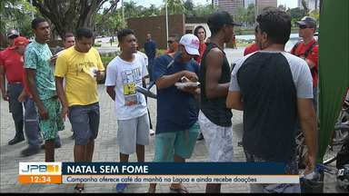 """Campanha oferece café da manhã na Lagoa e ainda recebe doações - """"Natal sem Fome""""."""