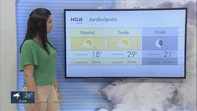 Confira a previsão do tempo para quarta-feira (25) na região de Ribeirão Preto - Meteorologistas preveem pequena chance de chuva na maioria das cidades.