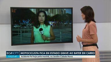 Motociclista fica em estado grave ao bater em carro - Acidente foi hoje pela manhã, no Jardim Cidade Nova.