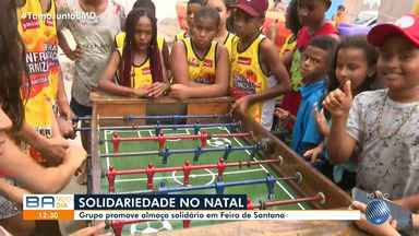 Moradores promovem almoço solidário na cidade de Feira de Santana, nesta quarta-feira - Ação de caridade marca a data natalina.