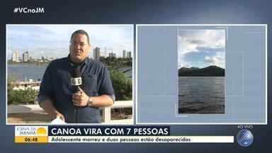 Adolescente morre e duas pessoas desaparecem após canoa virar em barragem, na região norte - A canoa transportava sete pessoas quando virou, em Pindobaçu.