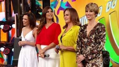 Faustão recebe Ana Paula Araújo, Andréia Sadi, Renata Ceribelli e Ana Furtado - Elas participam do 'Ding Dong'