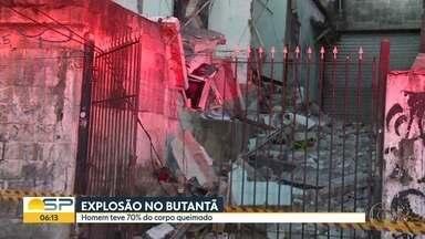 Explosão destróí casa no Butantã - Um homem que estava no imóvel teve 70% do corpo queimado.