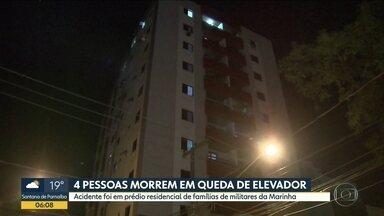 Elevador cai e mata quatro pessoas em Santos - O prédio residencial pertence a Marinha. As quatro vítimas eram parentes de um oficial.