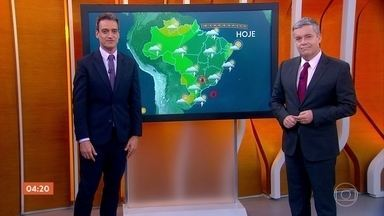 Confira a previsão do tempo para o primeiro fim de semana de 2020 - No sábado (04), deve chover forte em Brasília, Belo Horizonte e Vitória. No Rio de Janeiro, a máxima pode chegar a 29 graus.