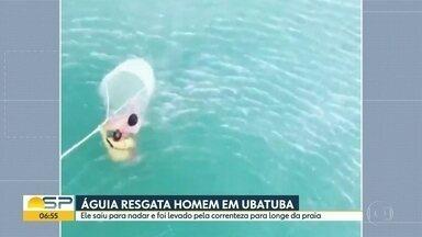 Banhista resgatado no mar em Ubatuba - Homem saiu para nadar e foi arrastado pela correnteza.