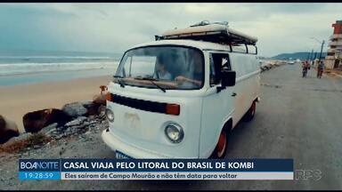 Casal viaja pelo litoral brasileiro a bordo de uma Kombi - Eles saíram de Campo Mourão no dia 22 de dezembro.