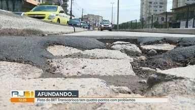 A pista do BRT Transcarioca tem quatro pontos de interdição, nessa quarta-feira (08) - As interdições foram causadas por problemas no asfalto.