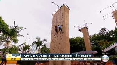 Esportes radicais em São Bernardo do Campo - Parque da Juventude tem escalada e tirolesa para quem quer curtir as férias
