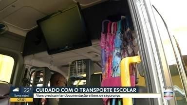 Os cuidados com o transporte escolar - Vans precisam ter documentação e itens de segurança.