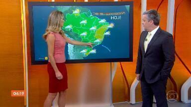 Segunda-feira será chuvosa em grande parte do país - Há previsão de chuva para todo o estado do Rio de Janeiro, Minas Gerais e São Paulo. Da Paraíba até o sul da Bahia o tempo fica firme.