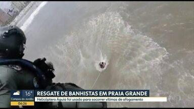 PM resgata banhistas em Praia Grande - Duas pessoas que estavam se afogando foram salvas pelos policiais no helicóptero Águia