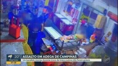 Suspeito morre durante troca de tiros e três são presos após assalto a adega em Campinas - Cerca de dez pessoas foram feitas reféns durante a ação, que foi registrada por câmeras de segurança. Caso aconteceu na Vila Aeroporto na noite de terça-feira (14).