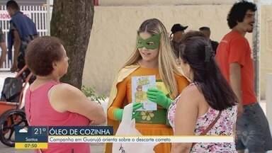 Campanha conscientiza sobre descarte correto de óleo em Guarujá - Ação acontece na praia das Pitangueiras.
