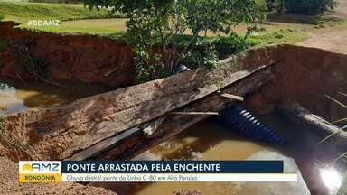 Ponte é arrastada pela enchente em RO - Chuva destrói pode da Linha c-80 em Alto Paraíso.