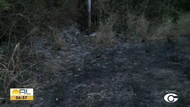 Incêndio destrói vegetação em Fernão Velho - Repórter Ragi Torres tem as informações.