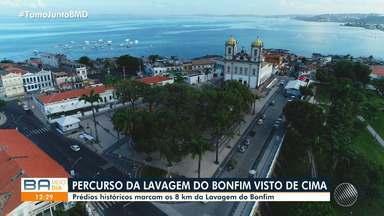 Fé: Bahia Meio Dia percorre os 8 km da Lavagem do Bonfim - Celebração começa na sexta-feira (16). Nesta quinta (15), a imagem foi levada em um catamarã até a Capitania dos Portos.