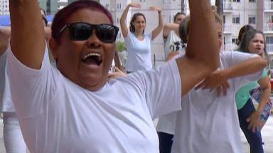 Projeto do shopping de Mogi oferece aulas de zumba e arrecada alimentos - Os alimentos são doados para a casa São Vicente de Paulo, que abriga 22 idosos em Mogi das Cruzes.