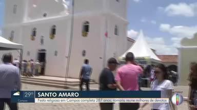 Festa de Santo Amaro em Campos, RJ, completa 287 anos - Milhares de devotos se reúnem na celebração religiosa.