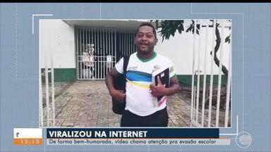 Contra evasão escolar, diretora e aluno gravam vídeo ao som de funk para atrair estudantes - Contra evasão escolar, diretora e aluno gravam vídeo ao som de funk para atrair estudantes no Piauí