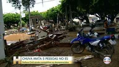 Forte chuva provoca mortes e deixa prejuízos no sul do Espírito Santo - O temporal deixou um rastro de destruição e, pelo menos, cinco mortos. Bombeiros procuram moradores desaparecidos.