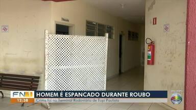 Homem é espancado durante roubo em banheiro de Terminal Rodoviário - Polícia Militar conseguiu prender dupla envolvida no crime em Tupi Paulista.