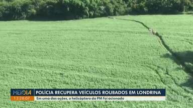 Polícia recupera três veículos roubados em Londrina - Uma das ações teve apoio do helicóptero da polícia militar, para encontrar duas camionetes roubadas na zona Norte da cidade. Também na zona Norte, a polícia encontrou uma SUV roubada no estacionamento de um supermercado.