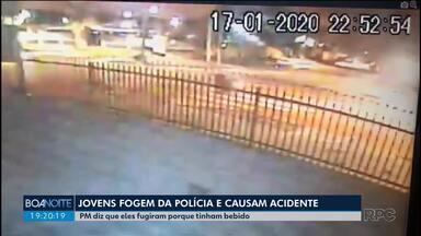 Jovens fogem da polícia e provocam grave acidente no Água Verde - Polícia Militar diz que eles fugiram porque tinham bebido.