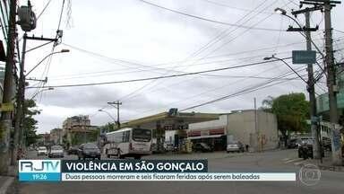 Ataques em São Gonçalo deixa dois mortos e seis feridos - Três homens passaram atirando de dentro de um carro vermelho.