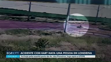 Homem morre em acidente com kart em avenida de Londrina - Acidente foi flagrado por câmera de segurança