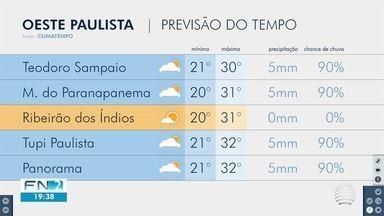 Confira a previsão do tempo para este domingo no Oeste Paulista - Veja como ficam as temperaturas na região de Presidente Prudente.