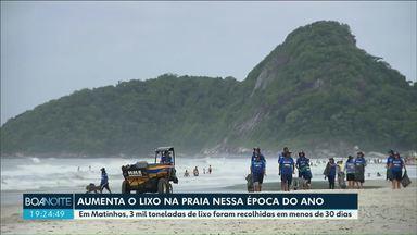 Em Matinhos, 3 mil toneladas de lixo foram recolhidas em menos de 30 dias - A temporada aumenta o número de visitantes.