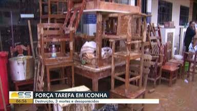 Força-tarefa dos bombeiros está em Iconha para auxiliar nas buscas por desaparecidos - Em meio à tragédia, comerciantes enfrentam saques.
