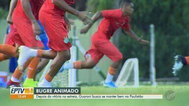 Vitorioso na estreia, Guarani se prepara para jogo contra o Santos - Após marcar 4 a 0 contra a Inter de Limeira na primeira rodada do Paulistão, Bugre se prepara para partida contra o Santos no Brinco de Ouro.