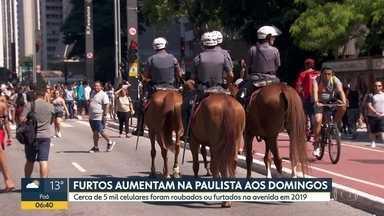 Furtos aumentam na Paulista aos domingos - Cerca de 5 mil celulares foram roubados ou furtados na avenida em 2019.