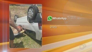 Motorista capota o carro na Rodovia Euclides da Cunha em Jales - De acordo com a Polícia Rodoviária, o homem de 53 anos estava com sinais de embriaguez e sofreu ferimentos leves.