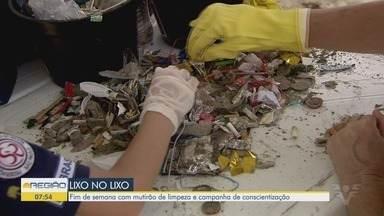 Mutirão é realizado nas praias de Santos para recolher lixo na faixa de areia - Fim de semana foi com mutirão de limpeza e campanha de conscientização.
