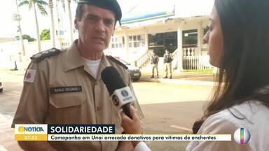 Polícia Militar de Unaí faz campanha para arrecadar donativos para vítimas de enchentes - Doações serão entregues para toda região de Minas Gerais.