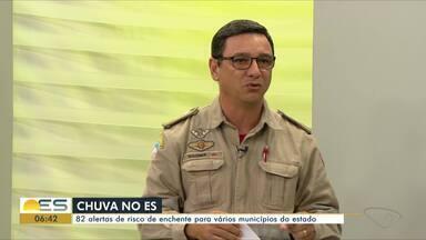 ES tem 82 alertas de risco de enchente para vários municípios - Tenente-coronel Wagner, do Corpo de Bombeiros, explica a situação do Estado nesta segunda-feira (27).