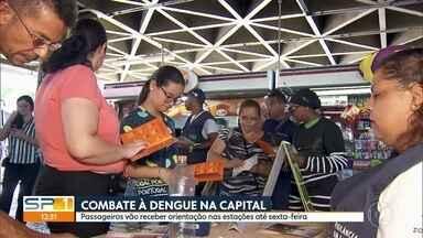Campanha de conscientização sobre a dengue é realizada em São Paulo - Passageiros que usam as estações de trem, metrô e terminais de ônibus na capital vão receber orientações sobre como evitar o mosquito Aedes Aegypti.