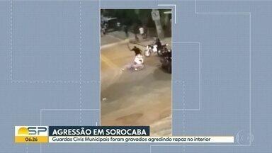Guardas Civis Municipais são flagrados agredindo homem em Sorocaba - Confusão foi no Parque das Águas após uma ação da GCM para conter uma grande concentração de pessoas no local