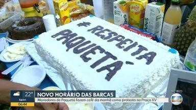 Moradores de Paquetá fazem café da manhã como protesto na Praça XV - Moradores de Paquetá fizeram um café da manhã e convidaram o governador Wilson Witzel para dar explicações sobre os novos horários das barcas.