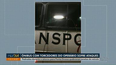 Ônibus com torcedores do Operário-PR sofre dois ataques após jogo contra o Coritiba - Pedras arremessadas quebraram janelas. Não houve feridos.