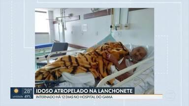 Idoso atropelado em lanchonete ainda está no hospital - Doze dias depois de ser atropelado dentro da lanchonete, no Gama, um idoso de 91 anos continua internado.