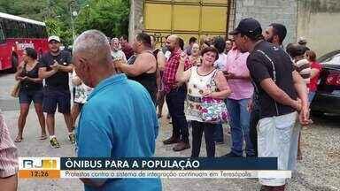 Protestos contra sistema de integração continuam em Teresópolis, no RJ - Passageiros estão insatisfeitos com condições do transporte público da cidade.